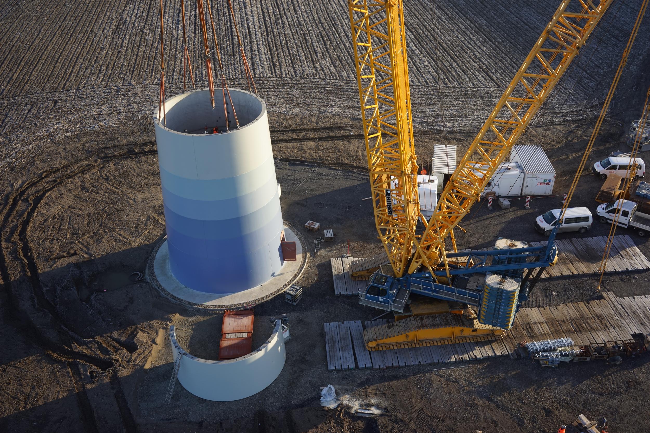 Luftbild Luftbildaufnahme UAV Drohne Flugroboter Baudokumentation Inspektion Windpark Windkraftanlage Moers NRW